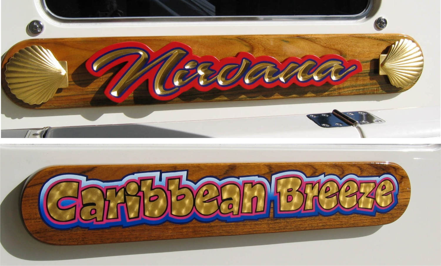 teak and mahogany name boards for yachts with genuine 23k gold leaf lettering name boards are custom created to suit your individual needs